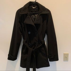JouJou Black Womans Coat with Belt XL
